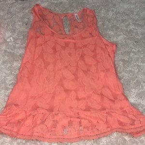 Peach lace tank from Aeropostale